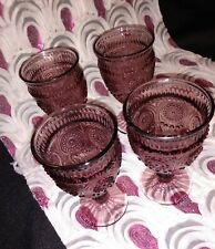 """Pioneer Woman """"Adeline"""" (Set of 4) PLUM Glass GOBLETS 16 oz New!!"""