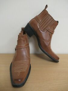 US Brass Brown Leather Cowboy Boots Size UK 7