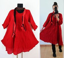 RED FLOATY CRINKLE TUNIC DRESS Scarf Plus Size 16 18 20 Gypsy Gothic Lagenlook