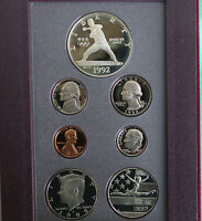 1992 US PRESTIGE Proof 7 Coin Set Olympic Baseball and Gymnastics with Box & COA