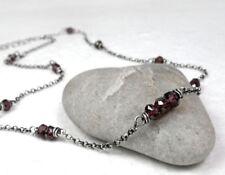 Red Garnet Choker Necklace, Dainty Sterling Silver, January Birthstone Gift