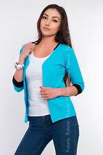 Elegant Women's Cardigan Jacket Style 3/4 Sleeve Blazer Shrug Sizes 8-18 8368