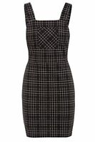 NEW WOMEN LADIES CHECK BLACK PINAFORE SHORT LENGTH DRESS WITH POCKET DETAIL