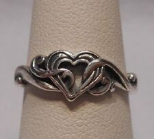 Estate~Kabana Scrollwork Detailed Heart 925 Sterling Silver Ring Size 6.75