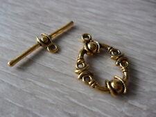(5) 1 Stück Knebelverschluss Toggle Verschluss Metall oval messingfarben Schmuck