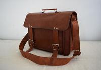 Vintage Leather Messenger Bag 15 In Laptop Satchel Briefcase Shoulder Handbag