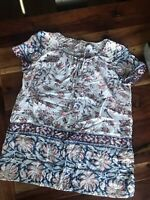 Lucky Brand Top womens Small White Blue Pink Floral Tie Boho Short Sleeve Shirt