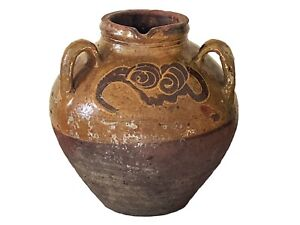 """Old Asian  Chinese Earthenware Pottery Storage Jar 9.75"""" H"""