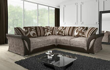 NEW LARGE SHANNON CORNER 5 SEATER BEIGE BROWN FABRIC / FAUX LEATHER SETTEE SALE