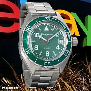 New Mens Military Automatic Watch Vostok Komandirskie 650858 Green Dial WR 200m