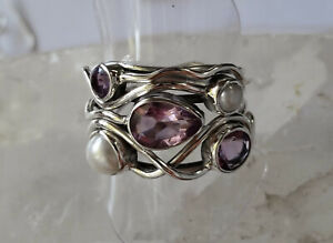 598 Amethyst / Pearl Solid 925 Sterling Silver Faceted Gem Ring sz P/S rrp$120