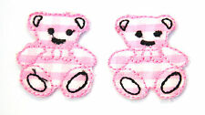 2X SML TEDDY BEARS PINK 2.5cm Embroidered Sew Iron On Cloth Patch Badge APPLIQUE