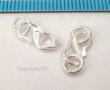 2x BRIGHT STERLING SILVER S HOOK CLASP 10mm JUMP RING 5mm #442
