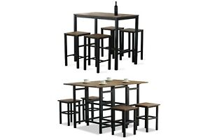 Folding Table and Stool Set For Kitchen Dining Room 4 Metal And Wood Stools High