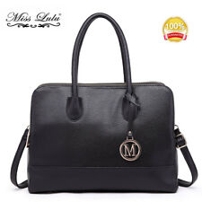 Laides DESIGNER PU Leather Shoulder Tote Handbag Large Bag Satchel Women Lt1726 Black
