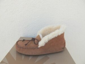 UGG ALENA CHESTNUT SHEEPWOOL CUFF MOCCASIN SLIPPERS, WOMEN US 5/ EUR 36 ~NIB