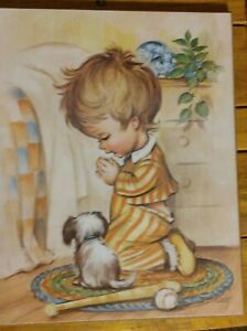 Vintage 70s Coby Veneered Print on thin board Praying Boy Baseball Bat Puppy Dog