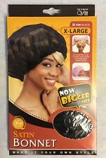 two pack_X Large satin BONNET_#159_cover most hair style_black color