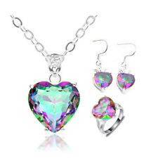 Jewelry Set 3 pcs Rainbow Mystic Topaz Heart Silver Pendant Earrings Ring Size 7