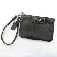 Coach Black Leather Wallet Wristlet Clutch 6x4 Zipper