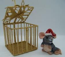 "Mouse ornament ,3"",polymer,Christma s,glass eyes,mini ,metal cage- Claydoodles"
