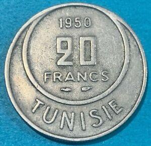 1950 Tunisia 20 Francs - Muhammad VIII Coin