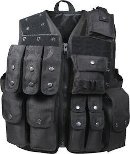 Black Tactical Raid Vest Official Law Enforcement Patrol Duty Mag Pouches