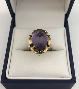 Lovely Vintage 9ct Gold & Amethyst Ring.   Size L.   3.7 Grams.  London 1977.