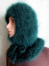 Hand knitted Mohair Beanie Hat  Balaclava Green