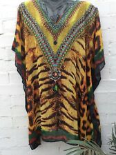 Embellished kaftan top dress beach coverup jewels one size Fit8-26 tiger leopard