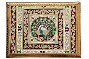 New Meenakari Pooja Puja Chowki Bajot Worship Stand 12 x 18 x 2 inches Golden