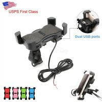 Universal Motorcycle Handlebar Mount Holder Dual USB Charger For Mobile Phone