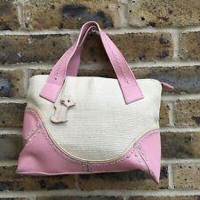Lovely RADLEY Small Bowler Bag Handbag, Cream Wicker, Pink Leather, Zip Closure