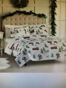 NEW St.Nicholas Square Holiday Full/Queen Quilt & 2 Shams SANTA/RED TRUCK