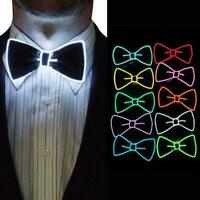 Unisex LED Wire Necktie Luminous Neon Flashing Light Bow Tie Up For Party P S6U0