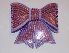 Lilac 3D sequin bow hotfix iron on Motif patch Lace xmas costume Applique