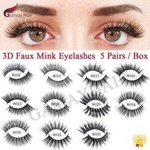 5 Pairs 3D Faux Mink Eyelashes Natural Thick Long Fluffy Makeup False Eye Lashes