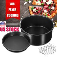 "7"" Replacement Air Fryer Frying Cage Dish Baking Pan Rack Tray Accessories"