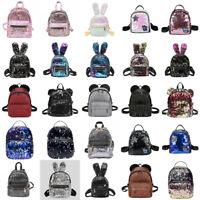 Women Girls Handbag Sequins Glitter Backpack Rucksack Travel Shoulder School Bag