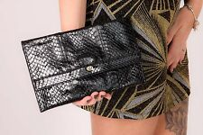 Vintage black leather snakeskin clutch bag F&W