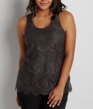 MAURICES CHARCOAL SLEEVELESS SCALLOPED LACE LINED TOP TANK PLUS Sz 1X