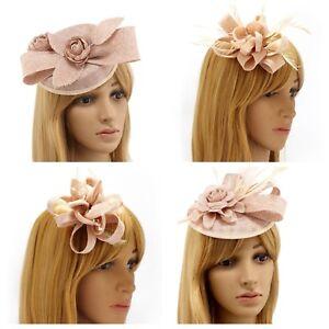 Nude Fascinator Brooch Clip Hat Headband Feather Flower Wedding Ladies Day Races