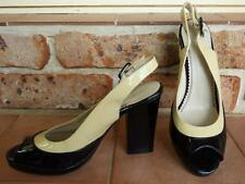 $180 FLORSHEIM LADIES HEELS 8 black beige patent leather SLINGBACK PEEPTOE shoe