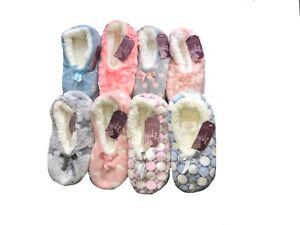 Ladies Slipper Socks S/M M/L blue pink grey stars hearts  Sherpa lined free P+P