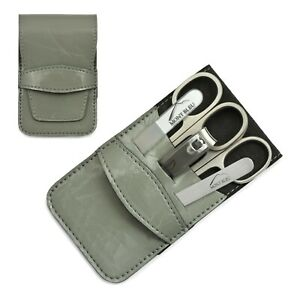Mont Bleu 5-piece Manicure Set & Glass Nail File in Grey Eco-Leather Case WIEN