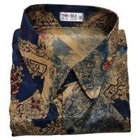 Mens Thai Silk Shirt Long / Short Sleeve Casual Pattern Hawaiian 2 Tone S - 3XL