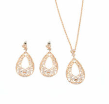 Rose Gold Plated withCubic Zirconia Filigree Raindrop Necklace Earring Jewelry