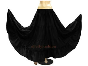 Black - Cotton 4 Tier 6 Yard Skirt Maxi Belly Dance Gypsy Flamenco Tribal Jupe