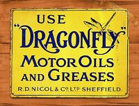 """Dragonfly"" Oil Rustic Motor Garage Wall Decor TIN SIGN"