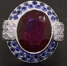 Heavy 18K WG elegant 16.50CT diamond sapphire ruby cocktail ring size 5.5